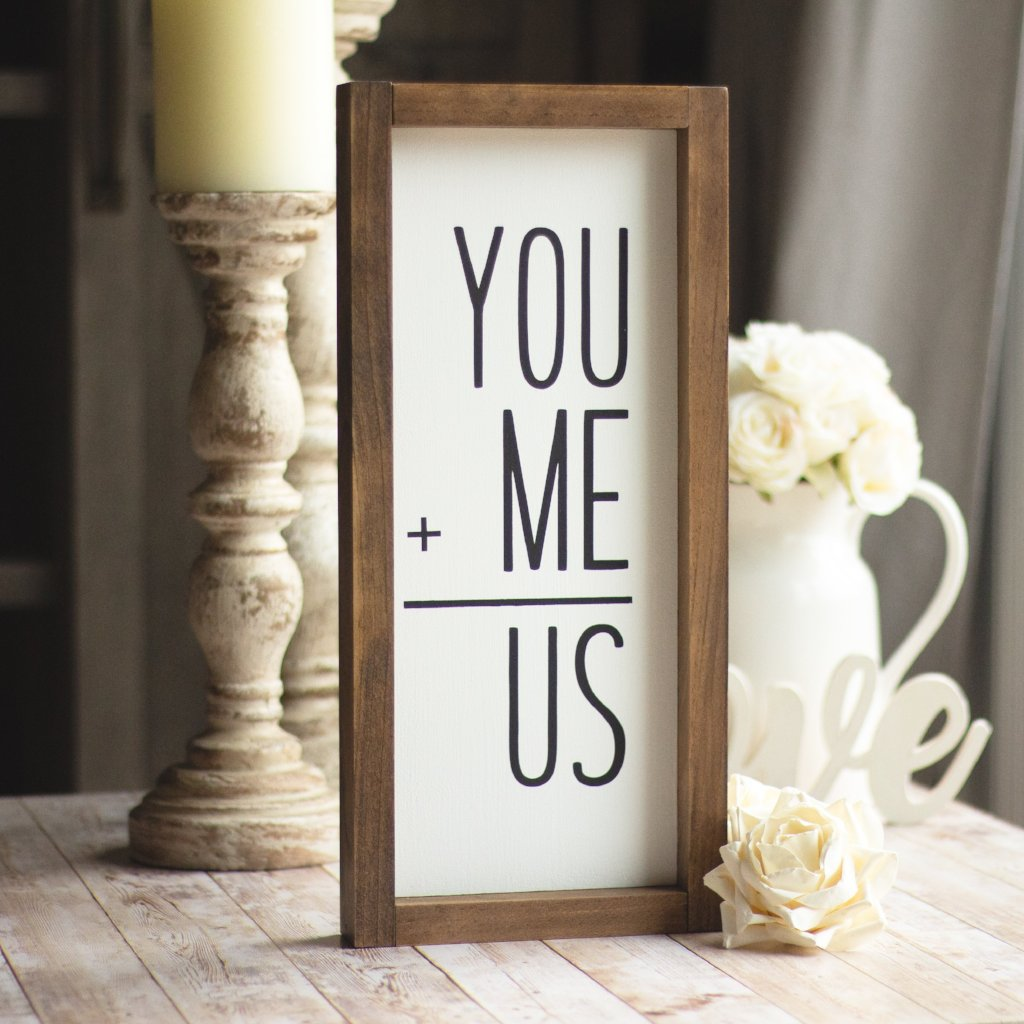 YOU+ME=US -Wall Sign  | Romantic Farmhouse Wall Decor | Black Letters Sign - Jarful House
