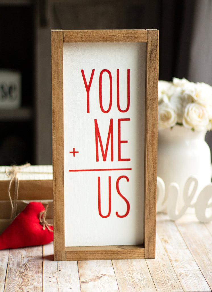YOU+ME=US -Wall Sign | Valentine's Day Decor | Red Letters Sign - Jarful House