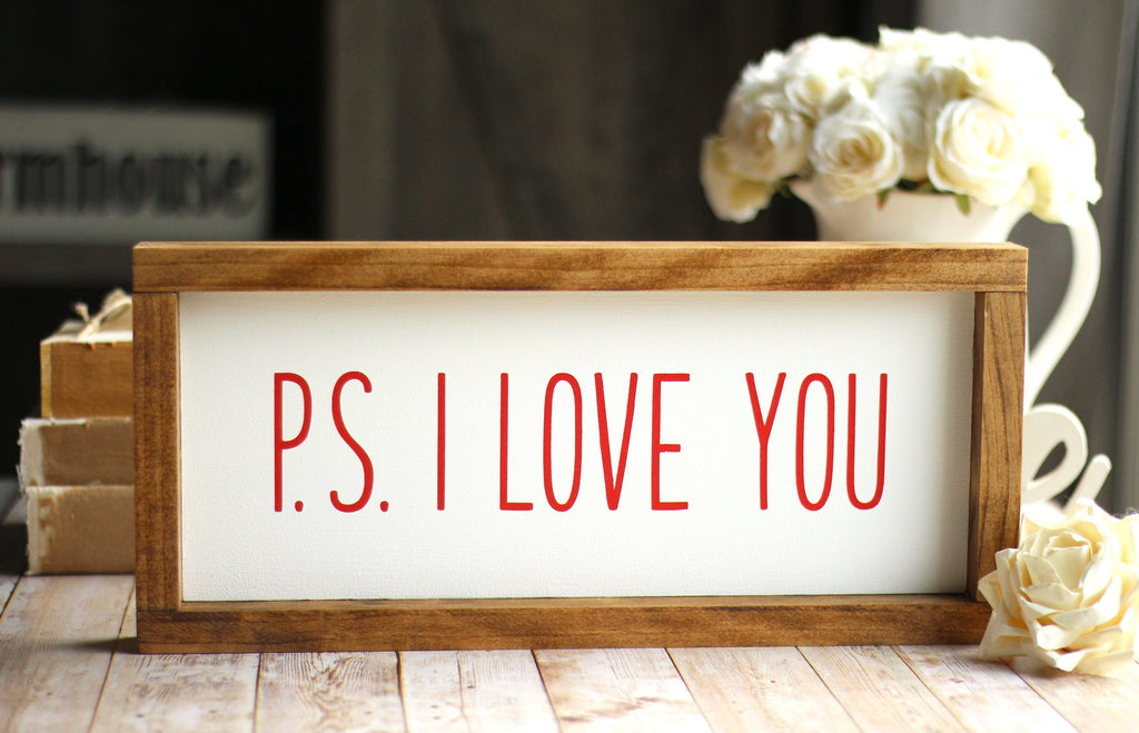 PS I LOVE YOU Rustic Sign - Valentine's Day Decor - Jarful House
