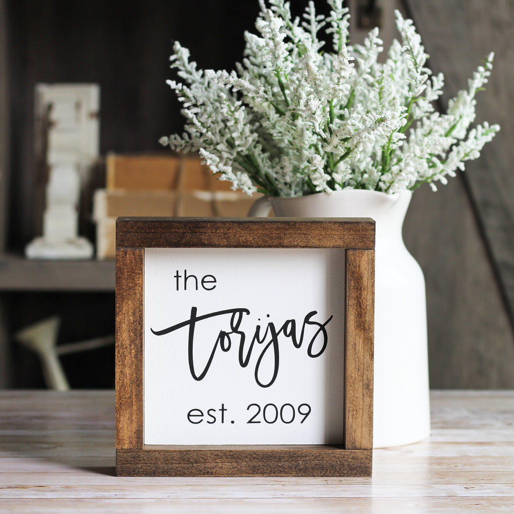 Family Name Sign | Personalized Housewarming Gift | Rustic Home Decor - Jarful House