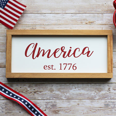 Patriotic Home Decor | Farmhouse Wall Sign America est. 1776 - 4th of July Memorial Day