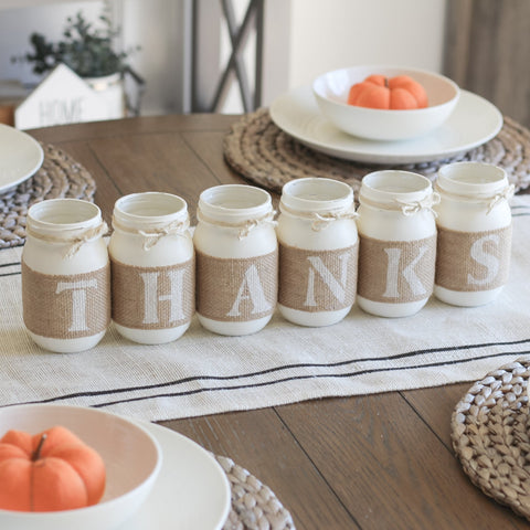 Thanksgiving Centerpiece Rustic Table Decor Thanks Mason Jars Set