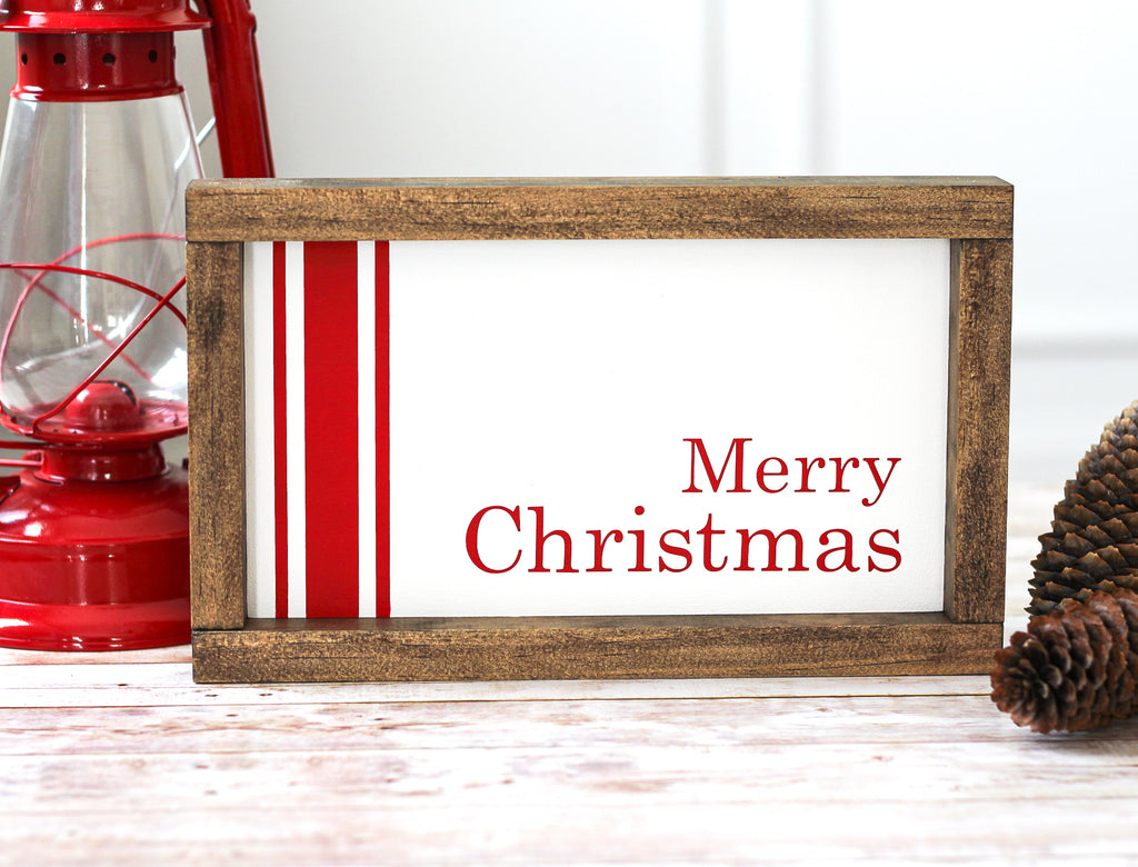 Farmhouse Red Merry Christmas Wall Sign | Rustic Holiday Home Decor - Jarful House