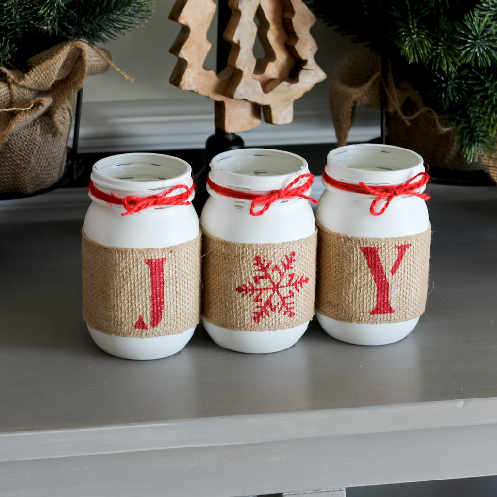 Christmas Table Decor JOY Mason Jar Set - White Red