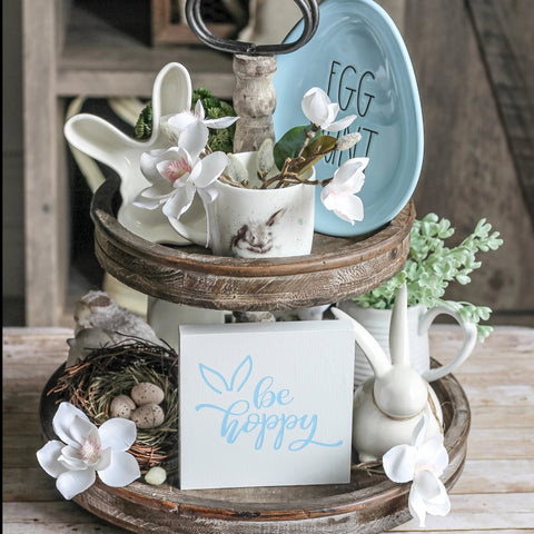 Easter Decor - Tiered Tray Easter Decorations  | Be Hoppy Sign 5x5 - Jarful House
