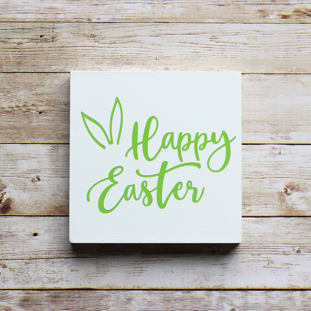 Easter Decorations - Tiered Tray Easter Decor Happy Easter Sign 5x5 - Jarful House