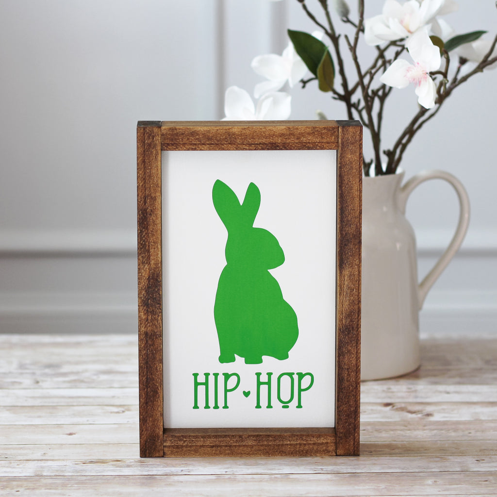 Green Easter Decor - Spring Hip Hop Bunny Wall Sign - Jarful House