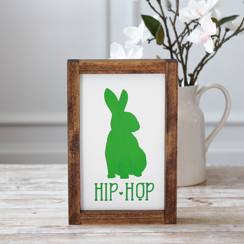 Green Easter Decor - Spring Hip Hop Bunny Wall Sign