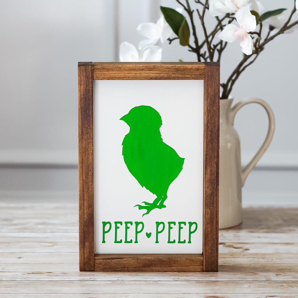 Green Easter Decoration Peep Peep Chick Chicken Wall Sign - Jarful House