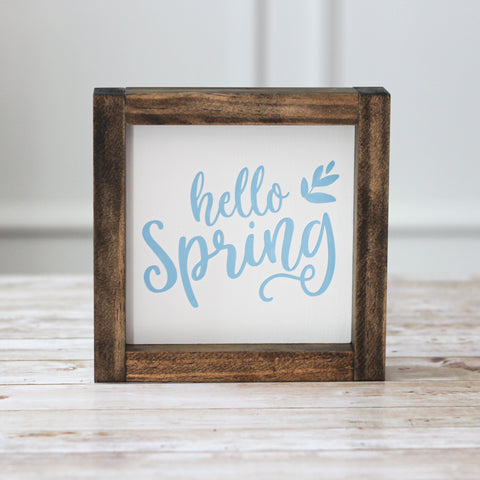 Hello Spring Wall Sign  - Farmhouse Blue Spring Home Decor