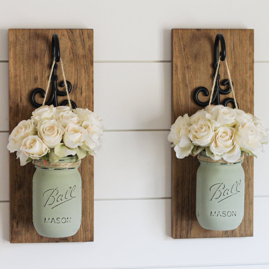 Farmhouse Wall Decor Rustic Sconces | Hanging Mason Jar Decorations - Jarful House
