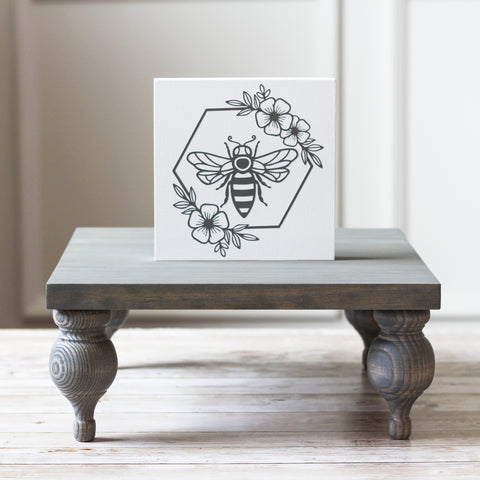 Queen Bee Tiered Tray Sign  | Spring Home Decor Mini Sign 5 x 5 inches - Jarful House