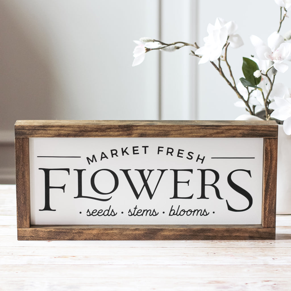 farmhouse wood sign market fresh flowers