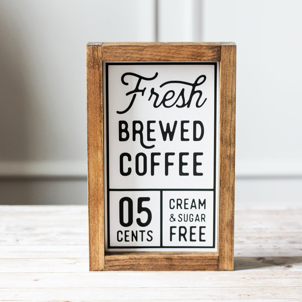 Kitchen Decor Farmhouse Wood Sign Fresh Brewed Coffee  | Coffee Bar Wall Decor