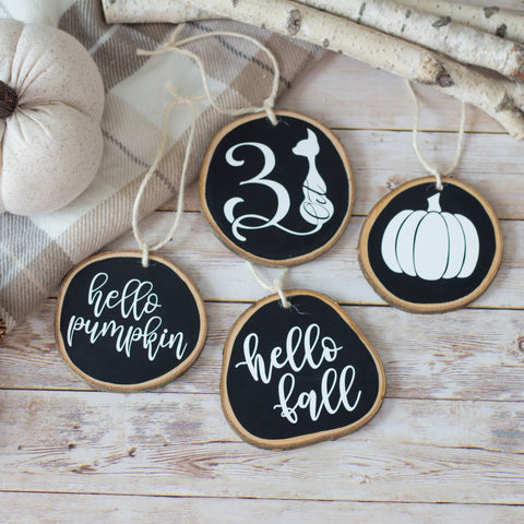 Fall Home Decor Ornaments Set of 4 | Halloween Fall Tiered Tray Decor - Black White Wood Slices