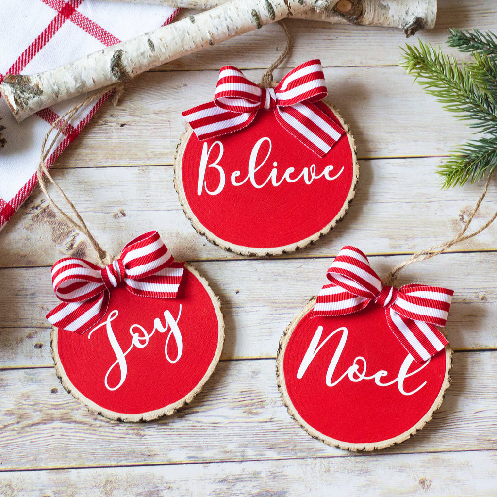 Farmhouse Christmas Ornaments Set of 3 | Red White Wood Slices | Believe Noel Joy