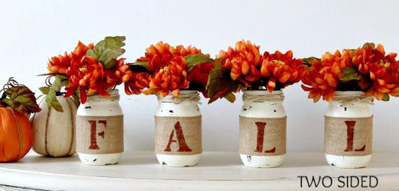 Farmhouse Fall Home Decor | Rustic Table Centerpieces - Two Sided - Jarful House