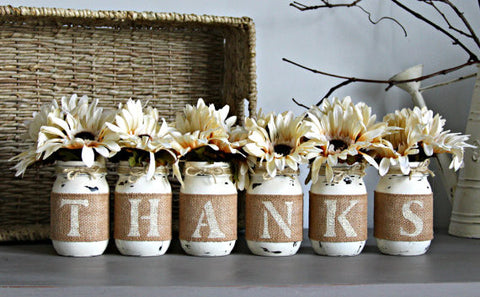 Thanksgiving Table Decor,Thanksgiving Centerpiece, THANKS - Jarful House