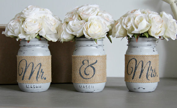 Bridal Shower Table Decor | Rustic Wedding Decor | Gift for Couples - Jarful House