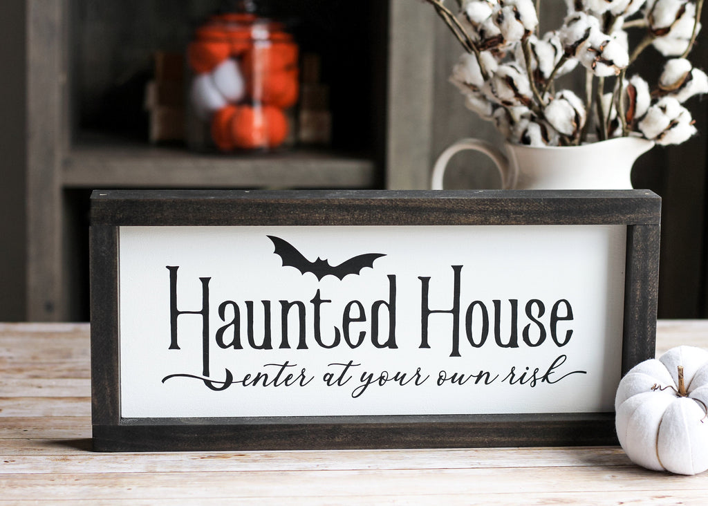 Haunted House Wall Sign | Halloween Decor - Jarful House