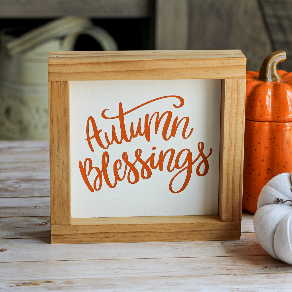 Fall Decor | Autumn Blessings Sign | Rustic Framed Wall Sign - Jarful House