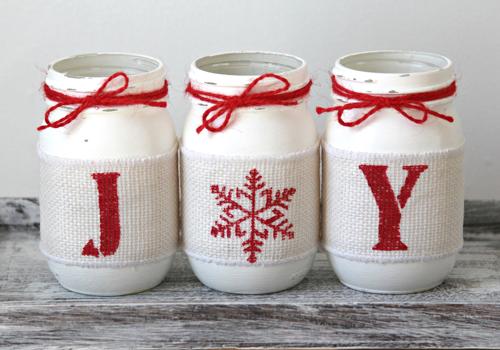 Rustic Christmas Table Centerpiece JOY in Pure White and Holiday Red - Jarful House