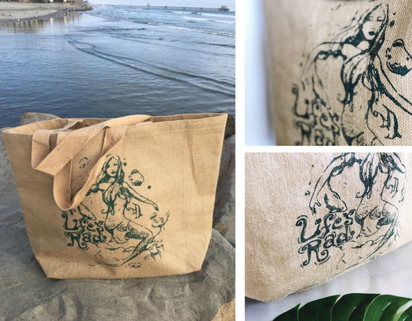 Our Mermaid Beach Bag is perfect for housing your Life's Rad Bug-Out Bag!