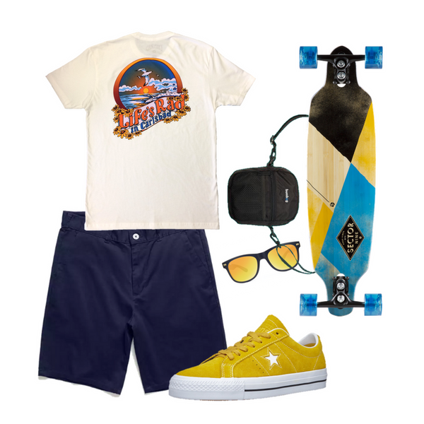 We love this Boardwalk Bro apparel style - perfect for catching up with the buds or with surfing the coastline, boardwalk style.