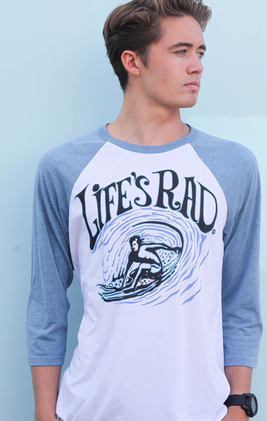Life's Rad Backside Surfer Raglan
