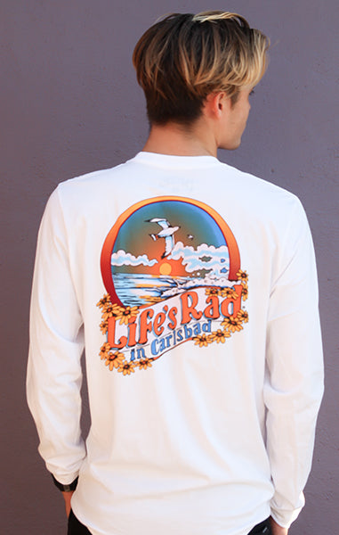 Carlsbad Ocean Flowers Long Sleeve T