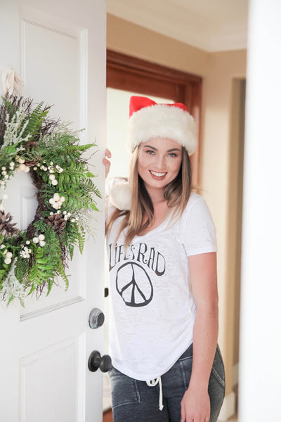 Rad Peace Sign Burnout V-neck