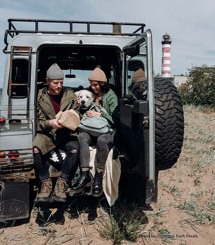 Two people and dog in vehicle