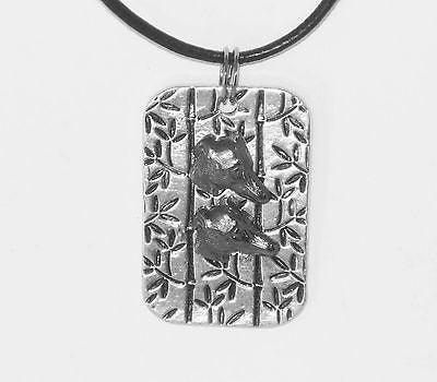 Silver Plated Pendant w a Pair of Greyhound/ Whippet Heads, Leather Necklace