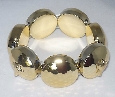 Goldtone Stretch Bracelet w GP Greyhound Dog Charms Whippet IG
