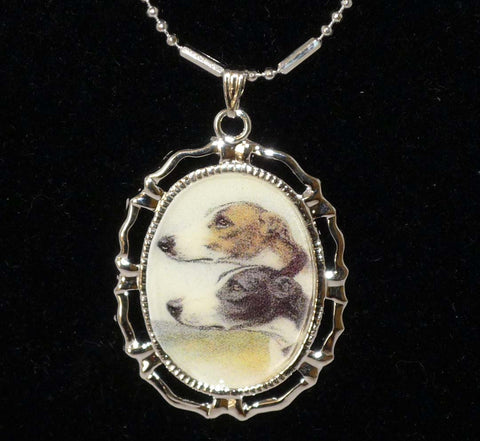 Altered Art 2 Greyhound Dogs Pendant Necklace BWFW, Choose Gold or Silver Setting