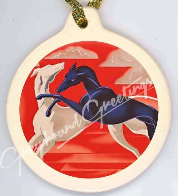 Greyhound Porcelain Ornament