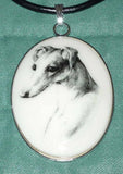 Vintage Alt Art Pencil Portrait Greyhound or Whippet Cameo Pendant Necklace