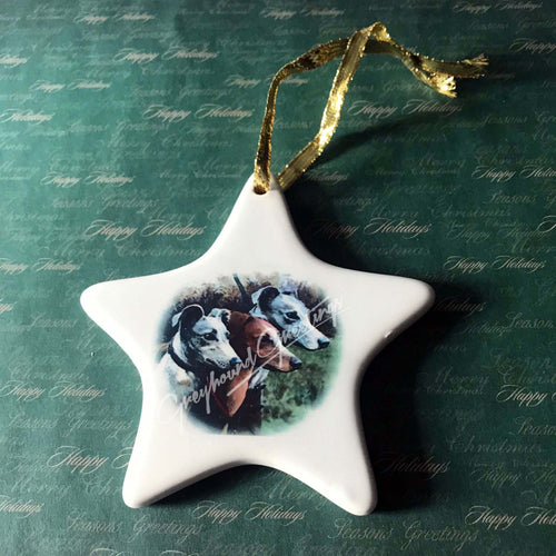 Porcelain Greyhound Ornament