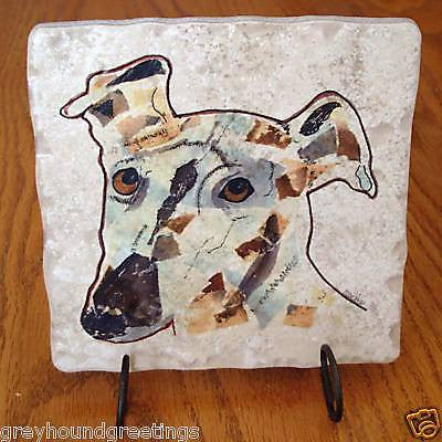 Abstract Dog Collage Stone Trivet w/Display Stand