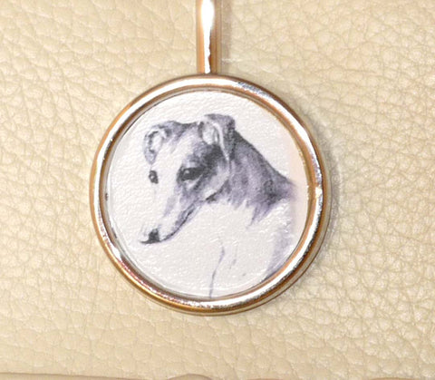 Finders Key Purse w Pencil Portrait Greyhound Dog Altered Vintage Art