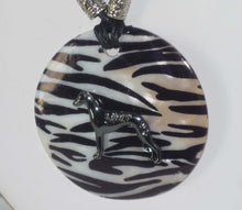 Load image into Gallery viewer, Black Stylized Greyhound or Whippet on Black and White Shell Pendant, Matching Earrings