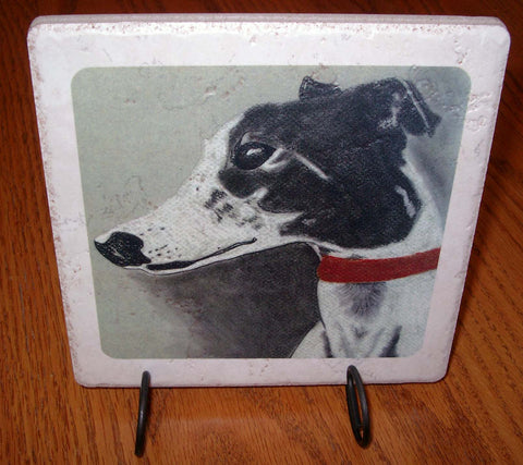 Black + White Greyhound Stone Trivet w/Display Stand