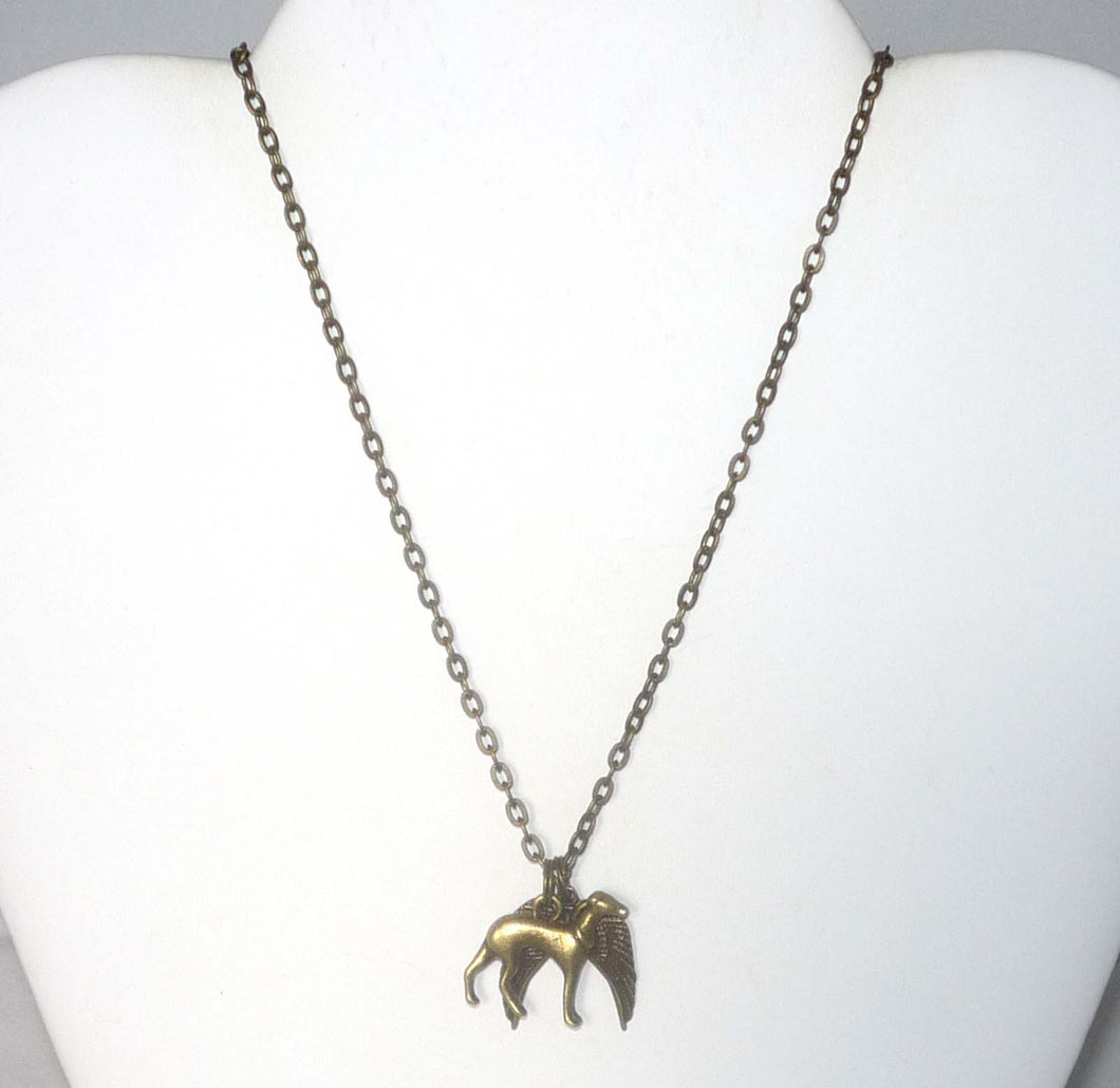 Bronze Greyhound and Wings Necklace