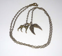 Load image into Gallery viewer, Bronze Greyhound and Wings Necklace