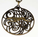 Bronze Art Deco Pendant with Bronze Greyhound / Whippet Dog in Full Flight, Bronze Necklace