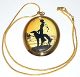 Vintage Alt Art Lady and Sighthound Pendant, Gold Plated Snake Chain Necklace
