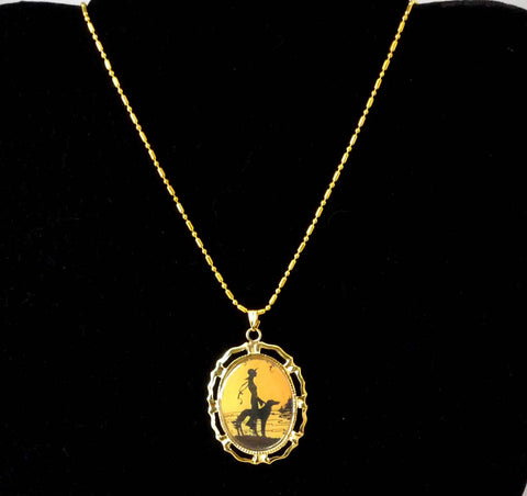Altered Art Deco Lady w Hat and Sighthound Dog Pendant Necklace GP