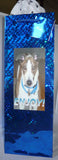 "Greyhound Blue Holographic Foil Bottle Gift Bag w Pawprint Tissue - ""Enjoy!"""