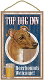 "TOP DOG INN Beerhounds Welcome! Indoor Wood Sign 10""x16"", Greyhound"
