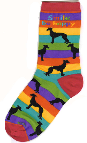 Greyhound Poses Socks Med (fits most) Stripe